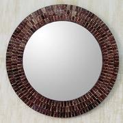 Novica Maroon Reflection Glass Tiles Round Wall Mirror