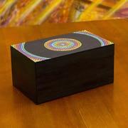 Novica Rainbow Mandala Hand Painted Wood Compartment Tea Box