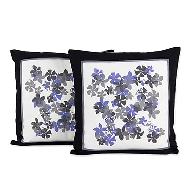 Novica Plumeria Artisan Crafted w/ Flowers Cotton Pillow Cover (Set of 2)