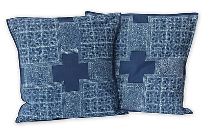Novica Hmong Cross Handcrafted Hill Tribe Batik Cotton Pillow Cover (Set of 2)