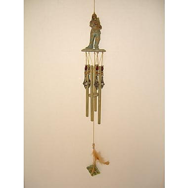 GreatWorldCompany Warrior w/ Club Poly Resin Indian Wind Chime
