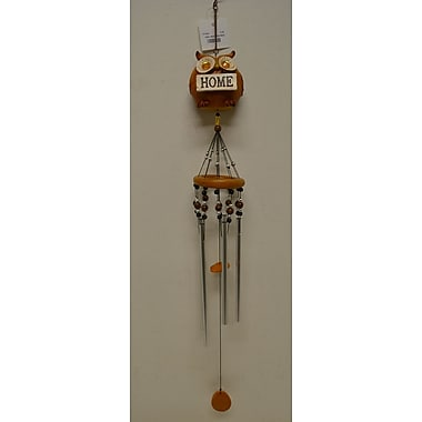 GreatWorldCompany Owl Wooden Resin Figurine Wind Chime