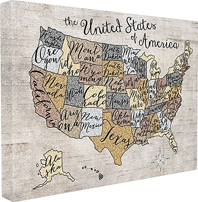 Stupell Industries The Kids Room United States Map Framed Textual Art On Canvas; 16'' H x 20'' W