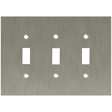 Franklin Brass Concave Triple Switch Wall Plate; Satin Nickel