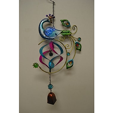 GreatWorldCompany Peacock Stained Glass Hanger w/ Bell Wall Decor