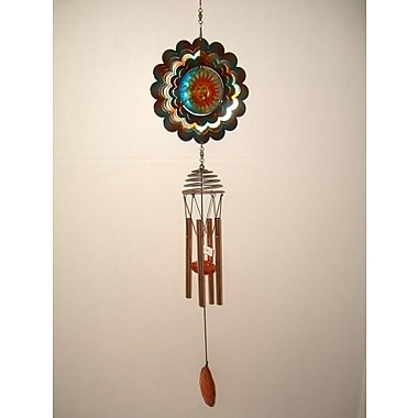 GreatWorldCompany Moon/Sun Metal Spinner w/ Poly Resin Center Wind Chime