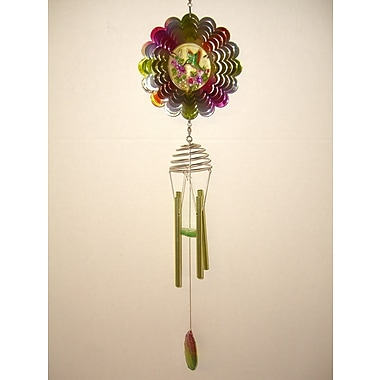 GreatWorldCompany Hummingbird Metal Spinner w/ Poly Resin Center Wind Chime