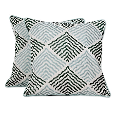 Novica Jade Vibrations w/ Embroidery Cotton Pillow Cover (Set of 2)