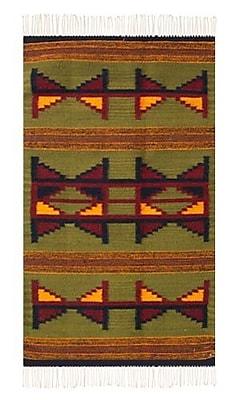 Novica Zapotec Green Area Rug