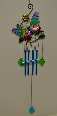GreatWorldCompany Butterfly Glass Top Vine Wind Chime