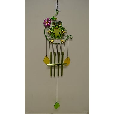 GreatWorldCompany Frog Glass Top Vine Wind Chime