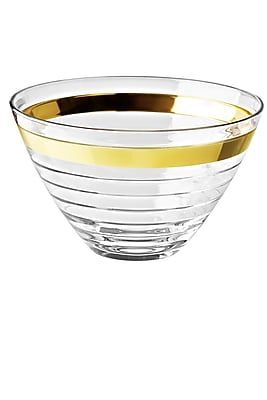 Majestic Crystal Glass Serving Bowl; Gold WYF078279255619
