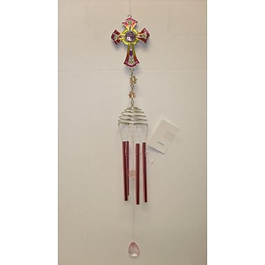GreatWorldCompany Pewter Epoxy Wind Chime; Pink / Yellow