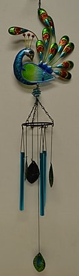 GreatWorldCompany Stained Glass Peacock Wind Chime; Green