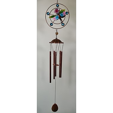 GreatWorldCompany Dragonfly Round Metal w/ Bead Wind Chime
