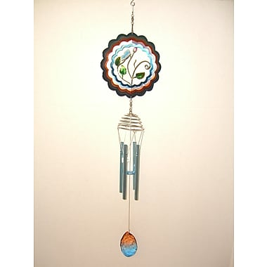 GreatWorldCompany Butterfly 3D Spinner w/ Metal Leaf Center Wind Chime
