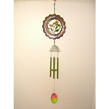 GreatWorldCompany Hummingbird 3D Spinner w/ Metal Leaf Center Wind Chime