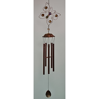 GreatWorldCompany Butterfly Flat Metal w/ Bead Chime; Copper