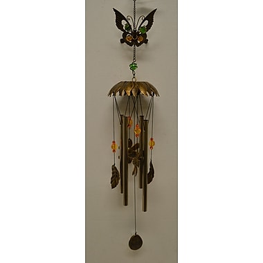 GreatWorldCompany Metal Butterfly w/ Hanging Flowers Wind Chime; Gold