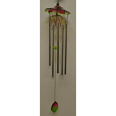 GreatWorldCompany Glass Dome Flower Top Wind Chime; Green
