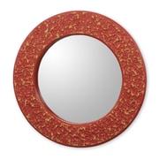 Novica Cape Coast Crafted Wall Mirror; Red