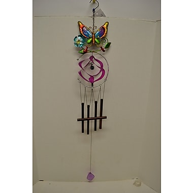 GreatWorldCompany Butterfly Stained Glass w/ Spiral Wind Chime