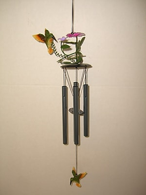 GreatWorldCompany Hummingbird 3D Metal Flower Wind Chime