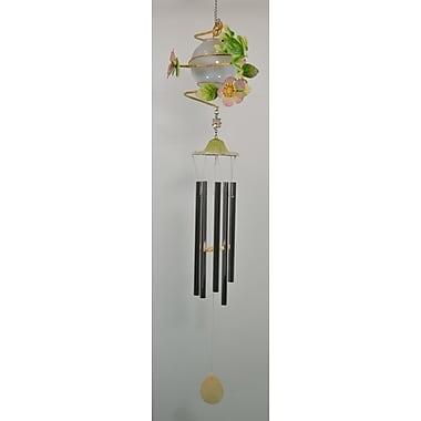 GreatWorldCompany Frog Metal Solar w/ Flowers Wind Chime