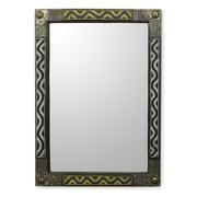 Novica Ahoufe II African Beaded Wood Frame Wall Mirror w/ Metal Accents