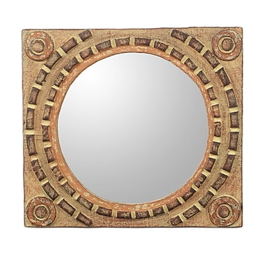 Novica African Tradition Rustic Wood Wall Mirror