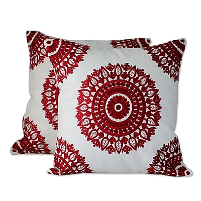 Novica Ruby Mandalas Embroidered Pillow Cover (Set of 2)