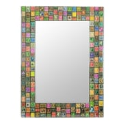Novica Stamp Collector Decoupage Wall Mirror