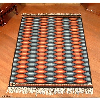 Novica Hand Woven Sun Gray/Orange Area Rug