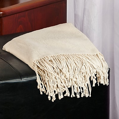 Barska Aus Vio 100% Silk Fleece Throw Blanket, Cream (BM12124)