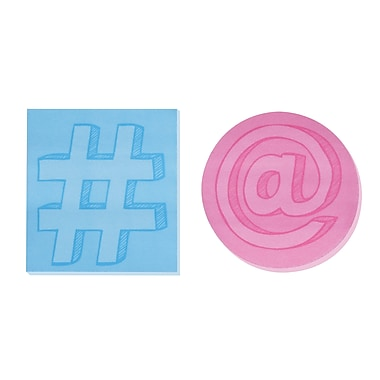 Post-it® Super Sticky Printed Notes, Social Media Shapes, 2 Pads/Pack