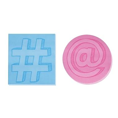 Post-it® - Feuillets super collants imprimés, formes de médias sociaux, paq./2 blocs