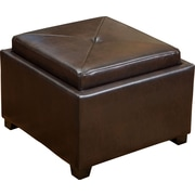 Home Loft Concepts Drexel Leather Tray Top Storage Ottoman; Brown