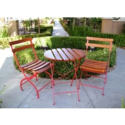 Innova Hearth and Home Uptown 3 Piece Bistro Set; Red