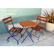Innova Hearth and Home Uptown 3 Piece Folding Bistro Set; Costal Blue