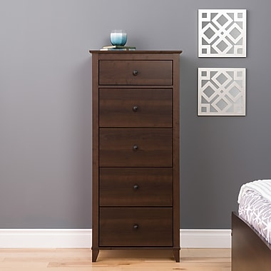 Prepac Yaletown 5-Drawer Tall Chest, Espresso