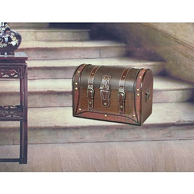 Quickway Imports Antique Style Wood and Leather Trunk w/ Round Top