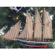 Handcrafted Nautical Decor Whale Wars Wooden Atlantic Model Sailboat Decoration Christmas Ornament
