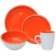 Melange 16 Piece Contempo Cantina 2-Tone Stoneware Dinnerware Set; Paprika