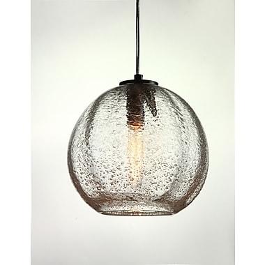 Viz Glass Vintage 1-Light Globe Pendant; Satin Nickel