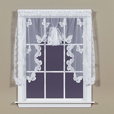 Saturday Knight Butterfly Lace Swag Curtain Valance; White