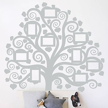 The Decal Guru Family Tree Pictures Wall Decal; Light Gray