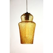 Viz Glass Vintage 1-Light Mini Pendant; Amber
