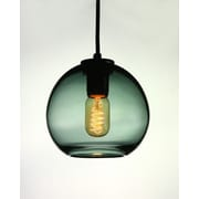 Viz Glass Vintage 1-Light Globe Pendant; Gray