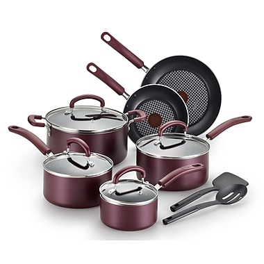 T-fal Color Luxe 12-Piece Non-Stick Cookware Set; Ruby