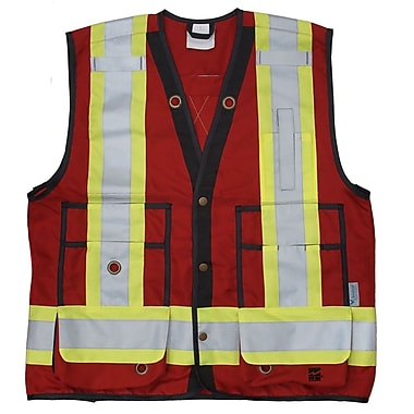 Viking Surveyor Safety Vest, 150D Danier Polyester, Mesh Ventilation Panels, Red, X-Large (6165R-XL)